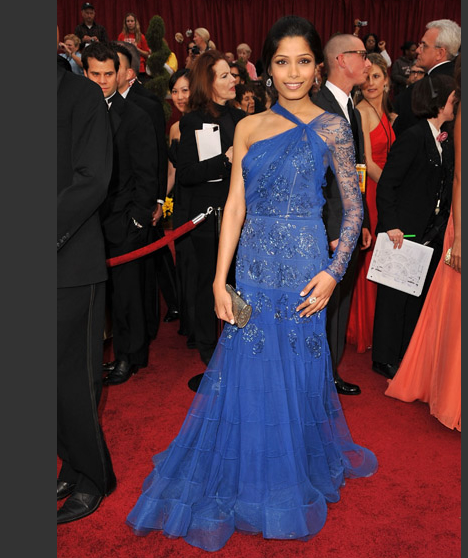 Freida Pinto wearing a John Galliano gown at the Oscars on February 22, 2009. (AP)