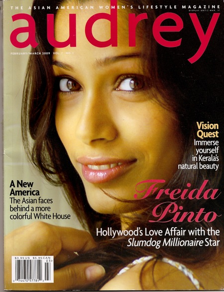 Freida Pinto appears on the Feb/March issue of Audrey Magazine.