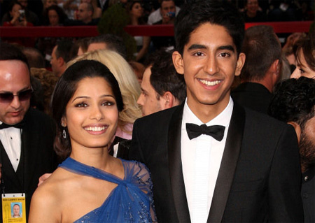 "Freida Pinto and Dev Patel, the stars of ""Slumdog Millionaire""."